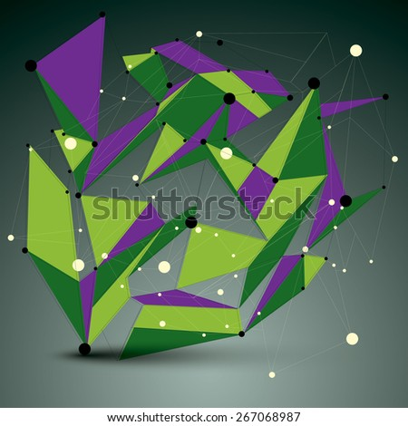 Contemporary technology colorful stylish futuristic node construction, vector abstract 3d figure with connected lines and dots. - stock vector