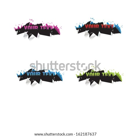 Content breaks trough the floor on a clear minimal geometric abstract vector design composition variation set, graphics element for brochure, advertising, infographics, website banner  - stock vector