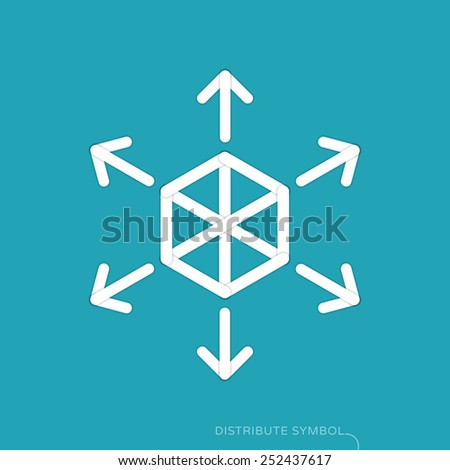 Content distribution concept - flat design symbol - stock vector
