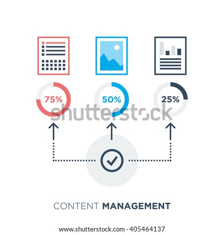 Content management icon for content distribution. Flat line style, vector illustration. - stock vector