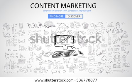 Content Marketing concept with Doodle design style: online solution, social media campain, creative ideas,Modern style illustration for web banners, brochure and flyers. - stock vector