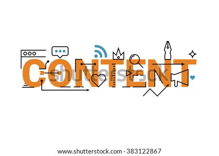 Content word lettering typography design with line icons and ornaments in orange theme - stock vector