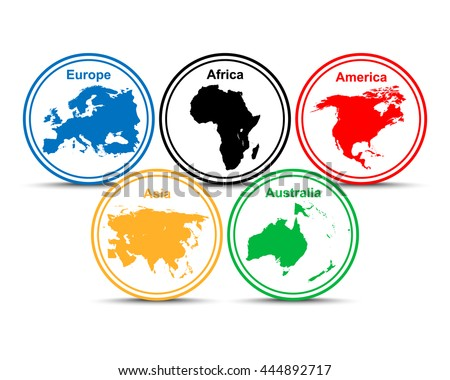 continents of the world. Olympic,  - stock vector