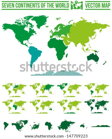 Continents world map vector. Full scalable vector map with separate maps for different continents. - stock vector
