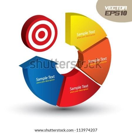 continual circle arrow 3D, can use for business concept, education diagram, brochure object. - stock vector