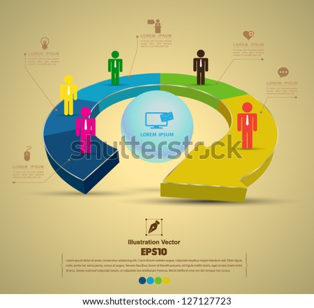 Continual circle arrow 3D / can use for diagram, graph, infographic, business plan, education - stock vector