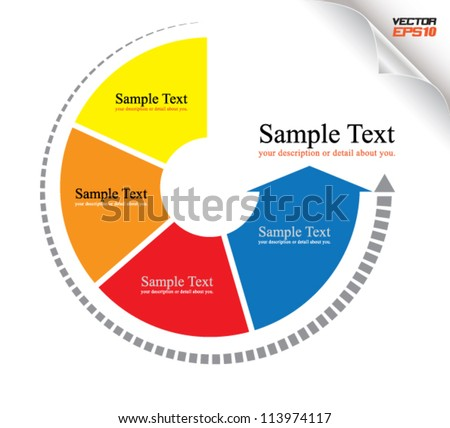 continual circle arrow multicolor, can use for business concept, education diagram, brochure object. - stock vector