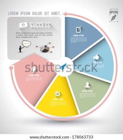 Continual circle arrow with icons long shadows / graph, infographic, business plan, education, can use for business concept, education diagram, brochure object. - stock vector