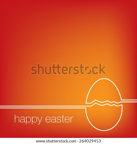 Continuous line Easter egg card in vector format. - stock vector