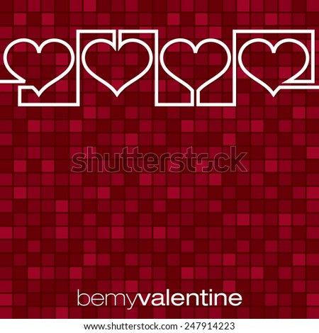 Continuous line heart Valentine's Day card in vector format. - stock vector