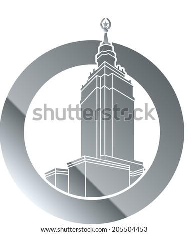 Contour Building Illustration - Vector Contour Architecture Series - stock vector