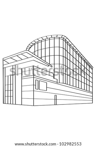Contour Building - Vector Contour Acchitecture Series - stock vector