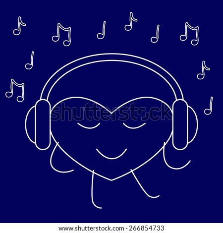 Contour dancing heart with closed eyes and headphones on it and many notes around it isolated on white background. Music fan concept. Logo template, design element - stock vector