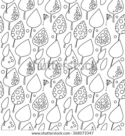 Contour decorative seamless pattern with leaves. Vector texture for coloring book - stock vector
