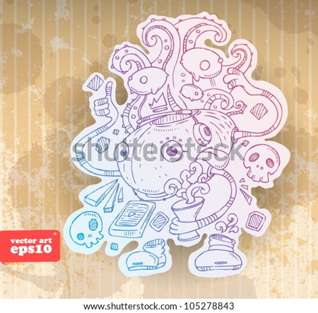 contour drawing. pop monster - stock vector