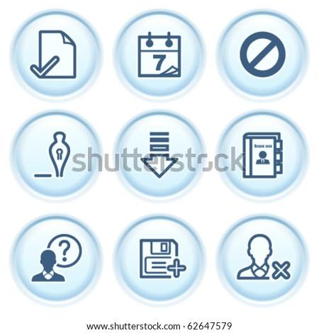 Contour icon on blue button 2 - stock vector