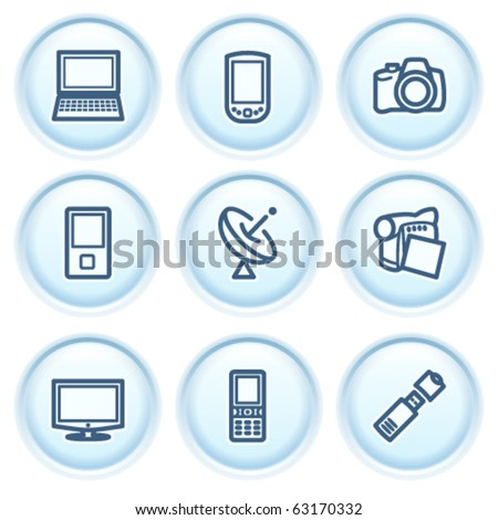 Contour icon on blue button 16 - stock vector