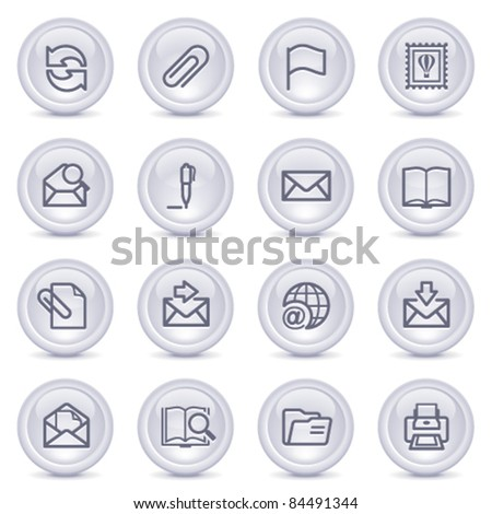 Contour icons on glossy buttons 2 - stock vector