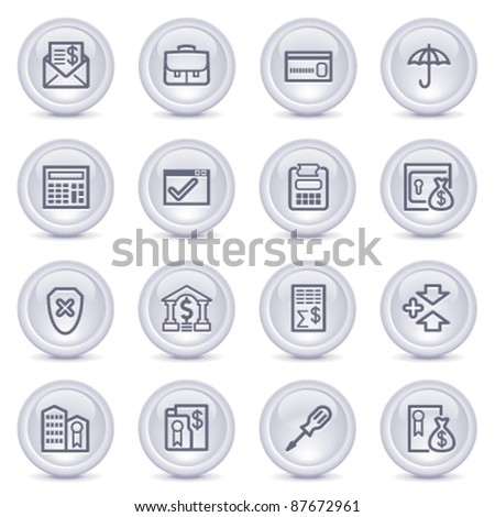 Contour icons on glossy buttons 16 - stock vector
