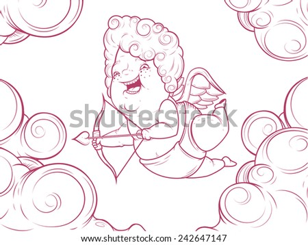 Contour illustration of funny cupid in the clouds - stock vector