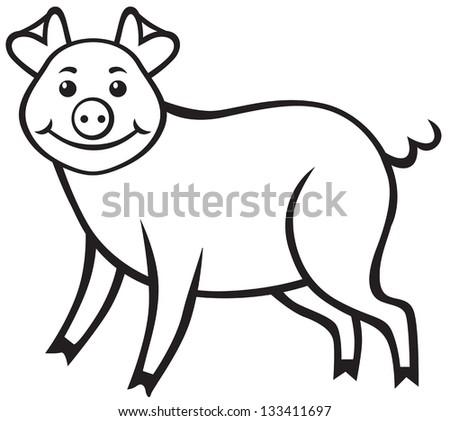 Contour image of a cute cartoon pig - stock vector
