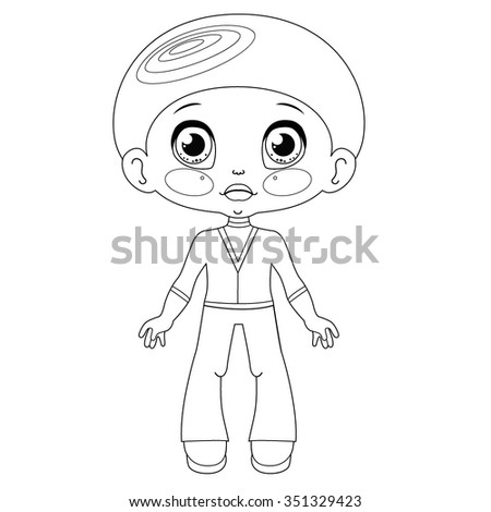 Contour kawaii boy: coloring page on white background - stock vector