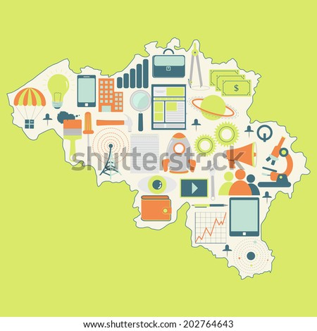 Contour map of Belgium with icons of technology, business, science, communication. Map of Belgium with technology icons - stock vector