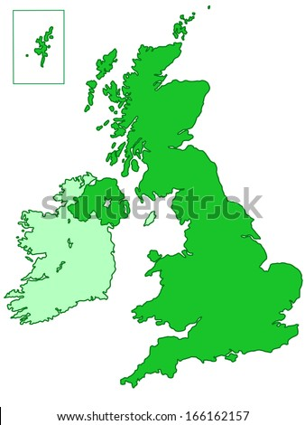 Contour map of the United Kingdom and Ireland. All objects are independent and fully editable - stock vector