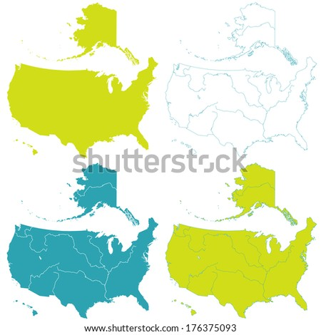 Contour map set of the United States. All objects are independent and fully editable  - stock vector