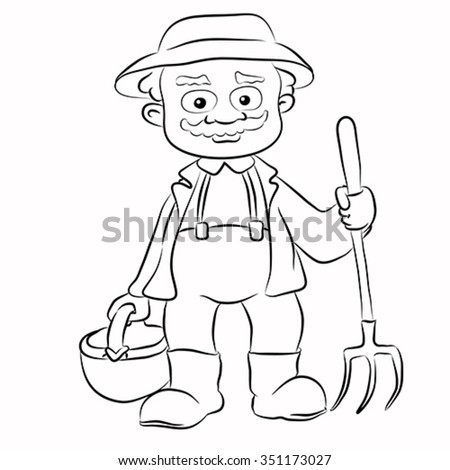 Contour of cartoon farmer with pitchfork and basket on isolated white background. Character design - stock vector