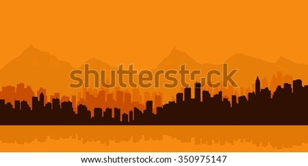 Contour of city on a background mountains. - stock vector
