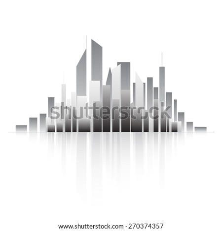 contour of city on the island - stock vector