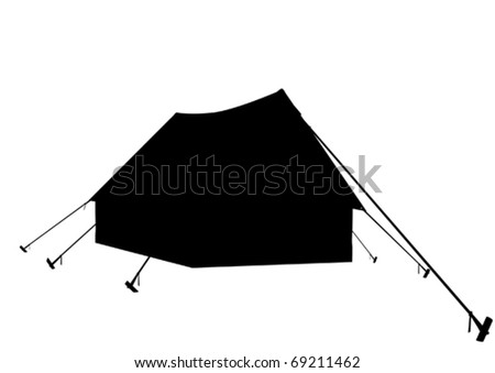 Contour of tent on a white background - stock vector