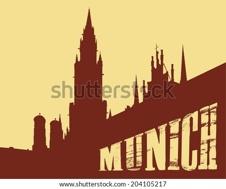 Contour of the building of the city of Munich on a yellow background - stock vector