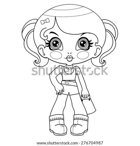 Contour of the cute doll - stock vector