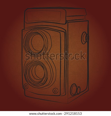contour of vintage medium format photo camera - stock vector
