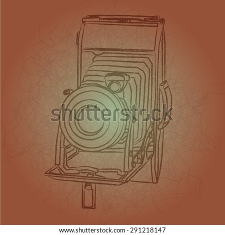 contour of vintage small format photo camera - stock vector