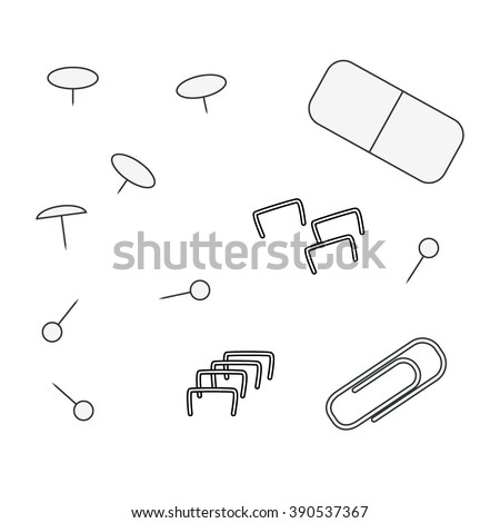 contour stationery objects, paper clips, staples, eraser, pin - stock vector