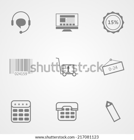 Contour vector icons for online store. Set of black vector contour icons for online store on gray background. - stock vector