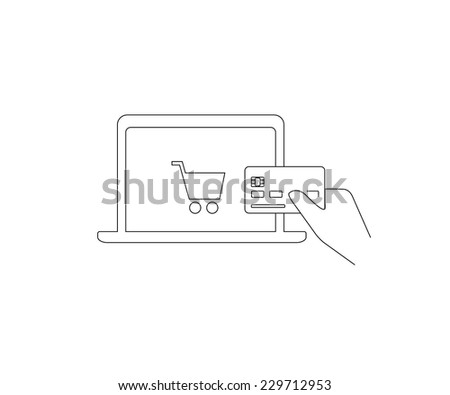 Contour vector illustrations of payment by credit card via Internet. Line thickness fully editable - stock vector