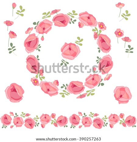 Contour wreath with herbs and roses  on white. Round floral frame for your design, greeting cards, wedding announcements, posters. Endless horizontal pattern brush. - stock vector