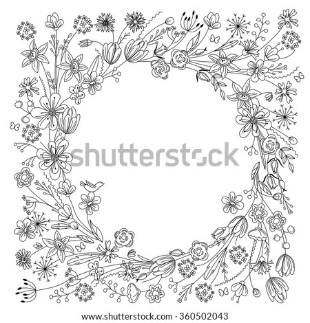 Contour wreath with stylized blossoming branches isolated on white. Black and white color. Round frame for your design, greeting cards, wedding announcements, posters. - stock vector