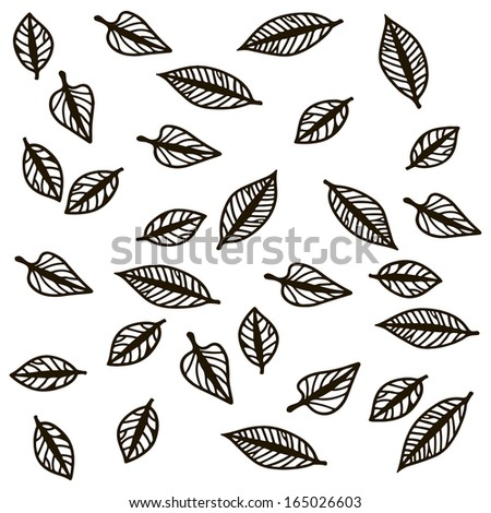 Contours of autumn falling leaves. Vector illustration. - stock vector