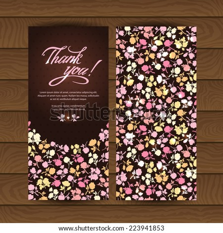 "Contours of multicolored flowers and text box with the words ""Thank you"". Bright and contrast banners. Vector modern Invitation, greeting, congratulation on a wooden background. Romantic style. - stock vector"