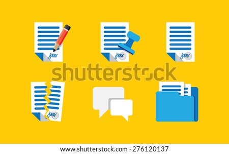 Contract Icons. Series. Simple glyph style icons - stock vector