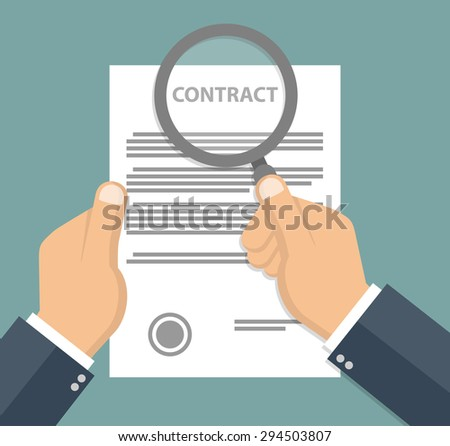 Contract inspection concept - Hand holding magnifying glass over a contract - Flat style - stock vector
