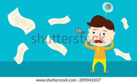 Contract paper flying all over the place illustration. A worried confusing man, manager, boss, employer, staff, employee cartoon character vector clip art. Can't figure out a solution to solve problem - stock vector