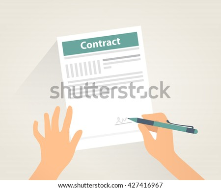 Contract signing. Man is signing a contract, EPS10 illustration. Isolated objects.  - stock vector