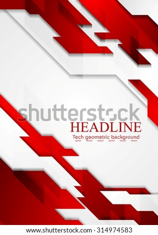 Contrast geometric tech corporate background. Red white grey gradient colors. Vector illustration design - stock vector