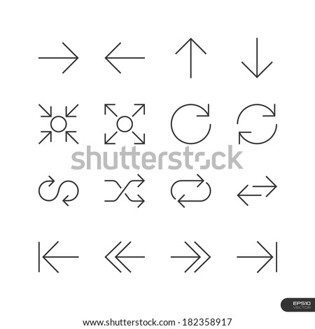 Control & Arrow Icons set - Vector illustration - stock vector